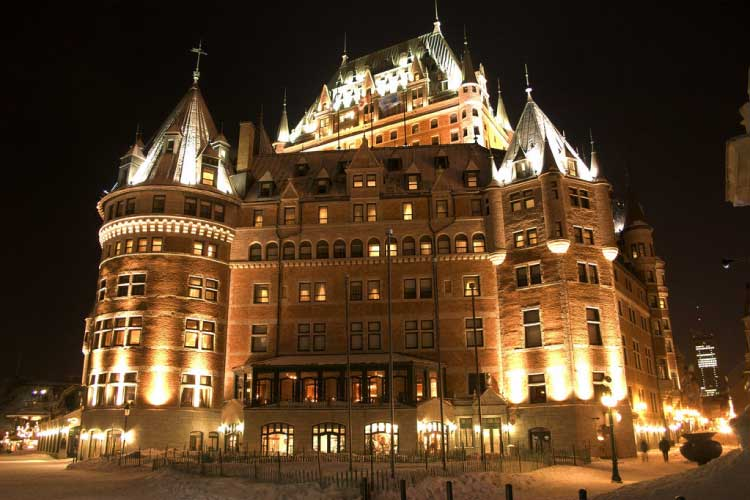 Le Chateau Frontenac at night in winter