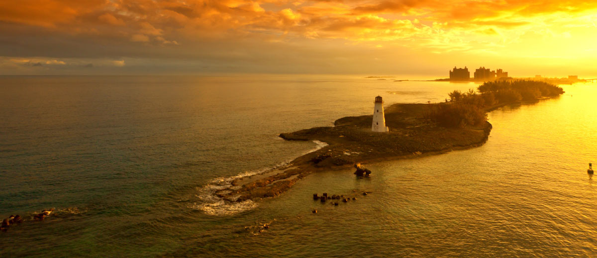 Nassau lighthouse at dawn, Bahamas