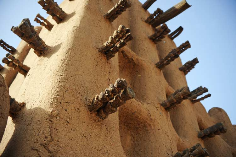 Close up of the Mud Mosque in Timbuktu