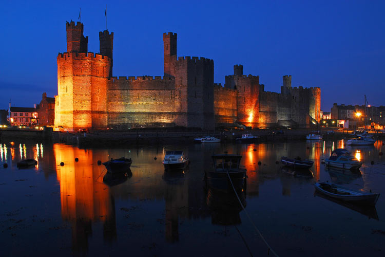 Twilight view of Caernarfon Castle