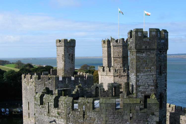 Castle towers flying Welsh flags