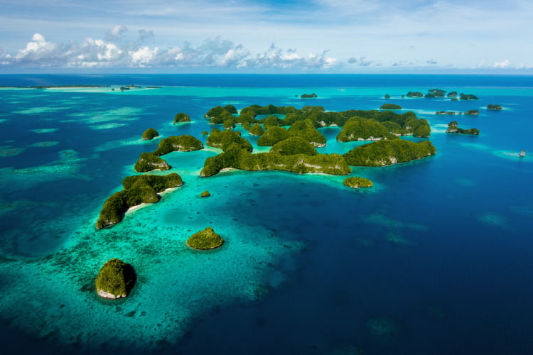 View from a flight over the Rock Islands in Palau