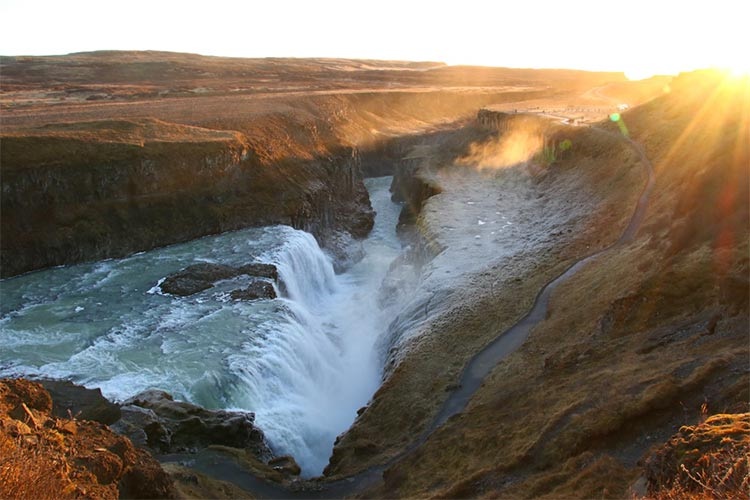 Side view of Gullfoss