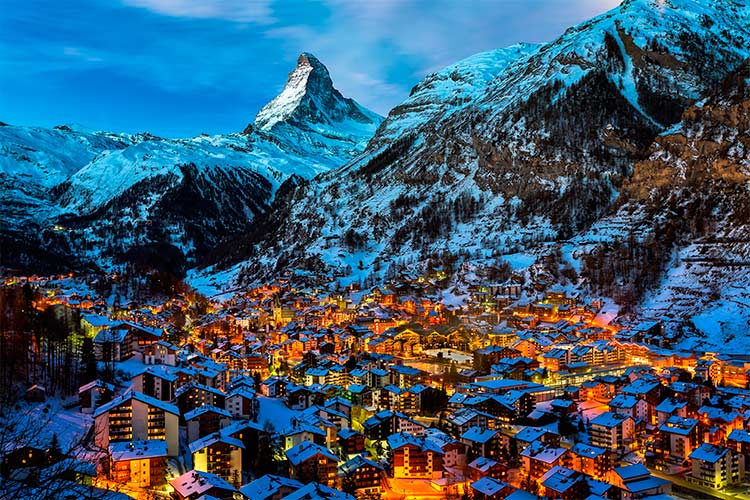 Aerial View on Zermatt Valley and Matterhorn Peak at Dawn,
