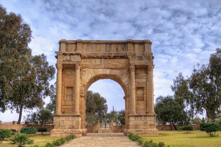 Arch of triumph in Sbeitla, Tunisia