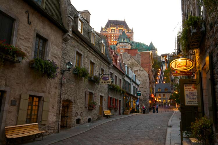 Srtreets of Old Quebec with Chateau de Frontenac in the Background