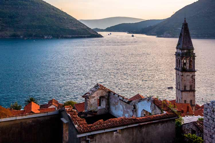 View Across the lake from Church in Perast