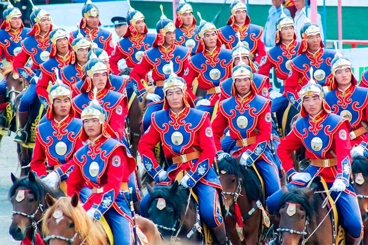 Riders at the Naadam Festival in Mongolia