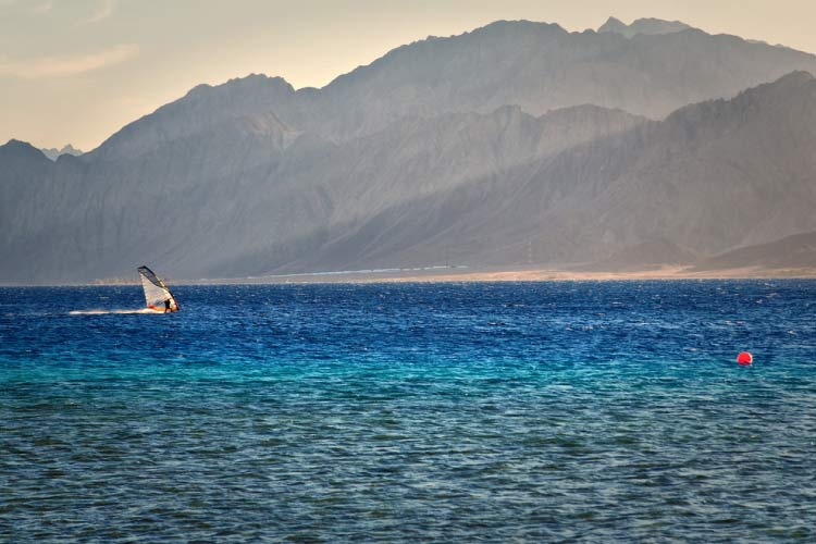 Windsurfing in Dahab, Egypt