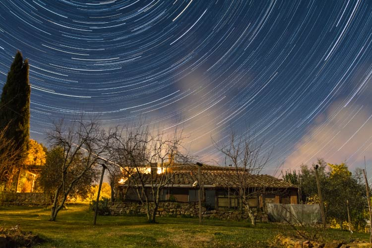 Startrail on Tuscan Countryside