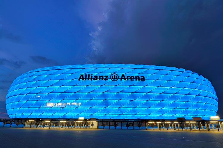 Allianz Arena-official playground of FC Bayern in blue at dusk