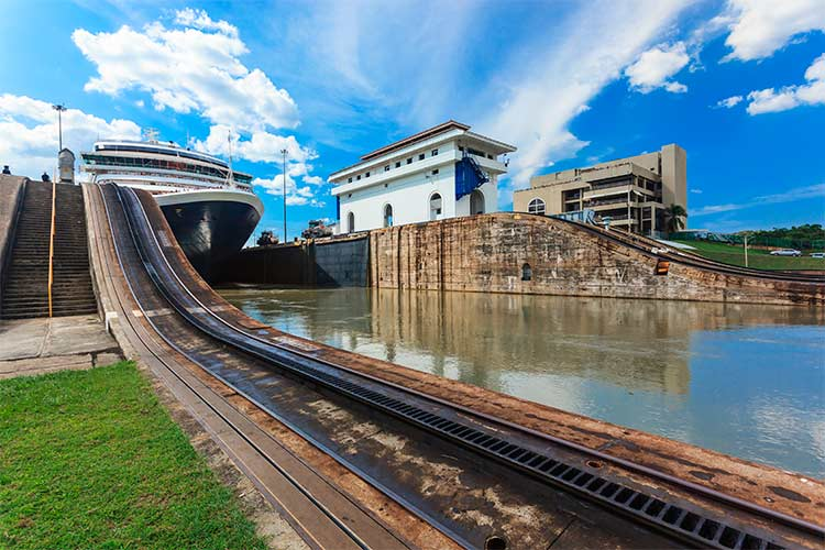 Ship exits locks at the Panama Canal towards the Pacific Ocean