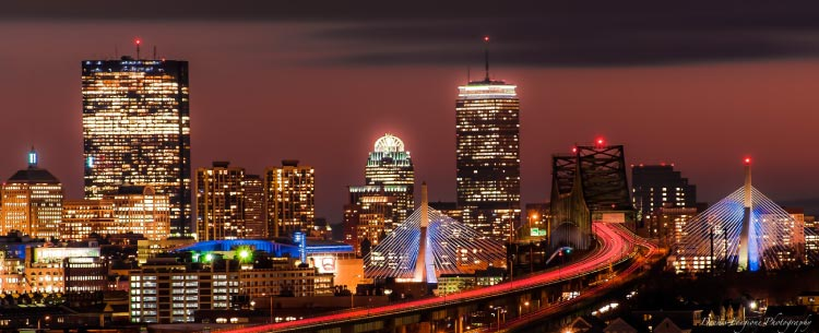 Boston Garden and the Prudential Tower