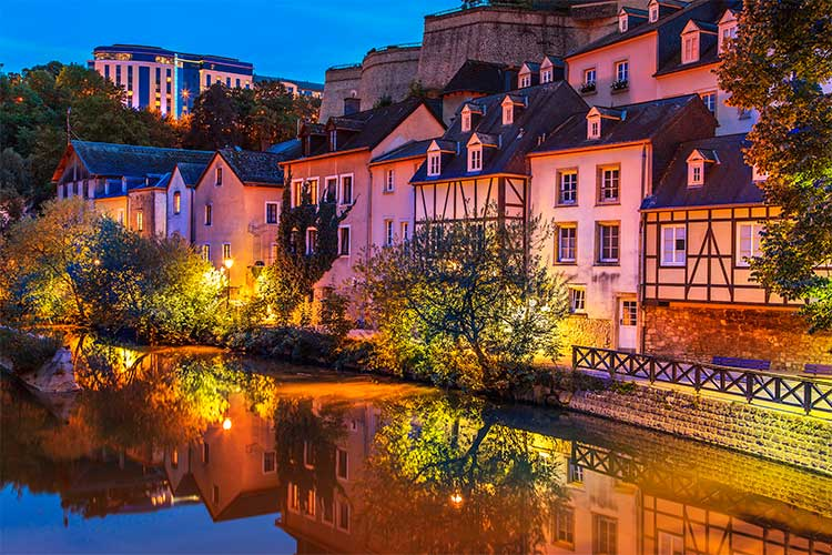 Cityscape of Luxembourg city in the evening, Luxembourg