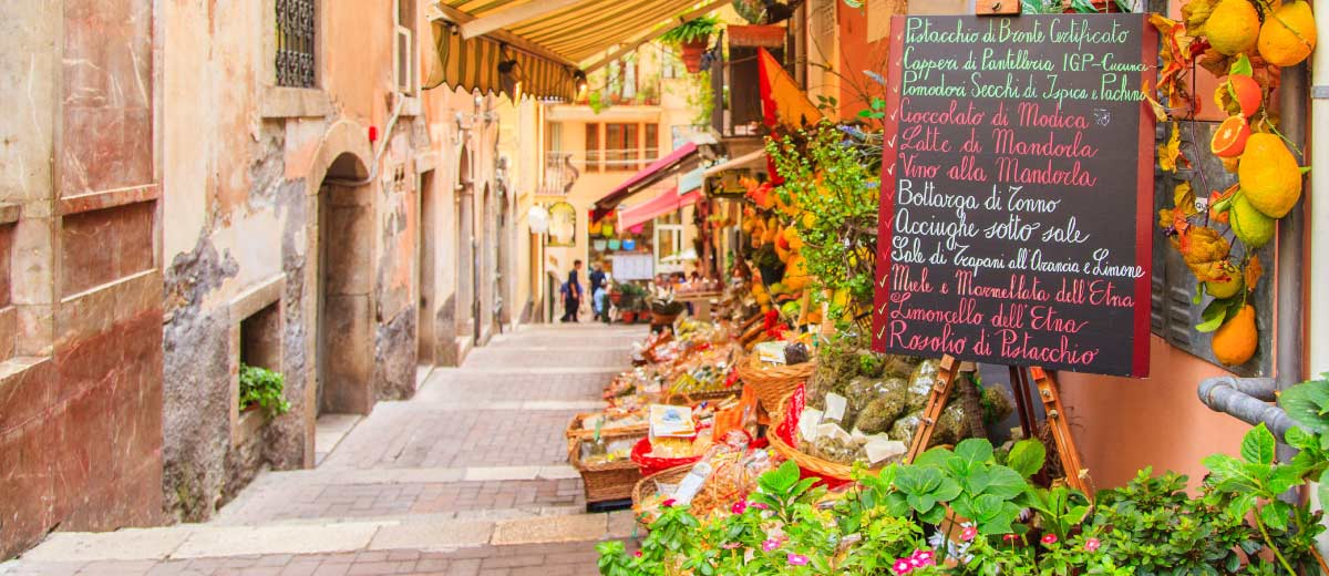 Row of shops in Sicily, Italy