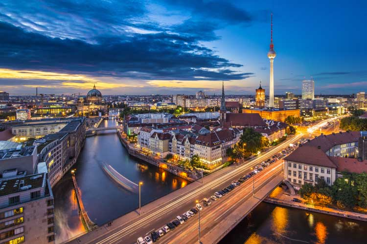 Berlin, Germany viewed from above the Spree River