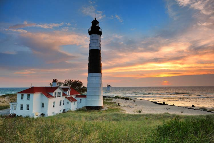 Big Sable Point Lighthouse sunset, Ludington, Michigan