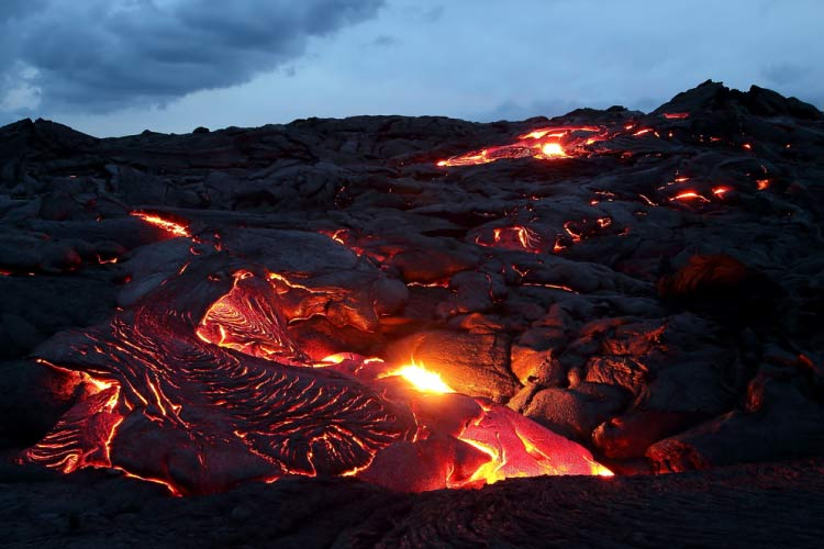 Lava flowing in Volcanoes National Park