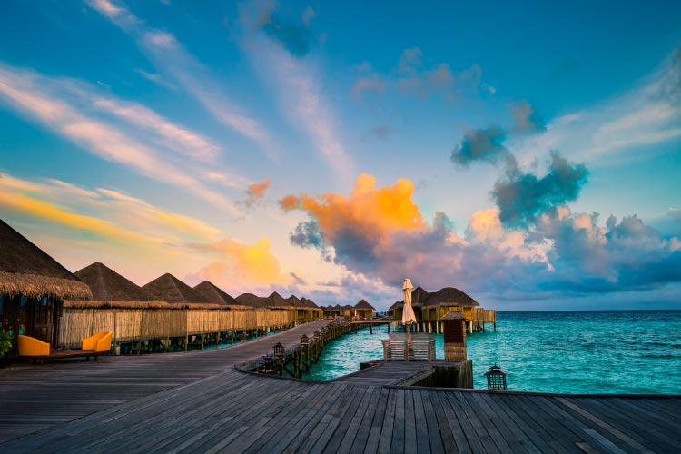 The Maldives in the morning