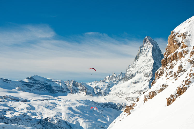 Paragliding over the Swiss Alps and the Matterhorn