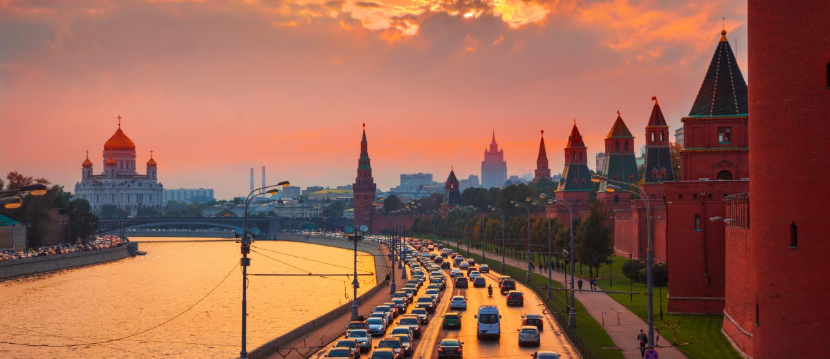 Traffic at sunset near the Kremlin wall in Moscow