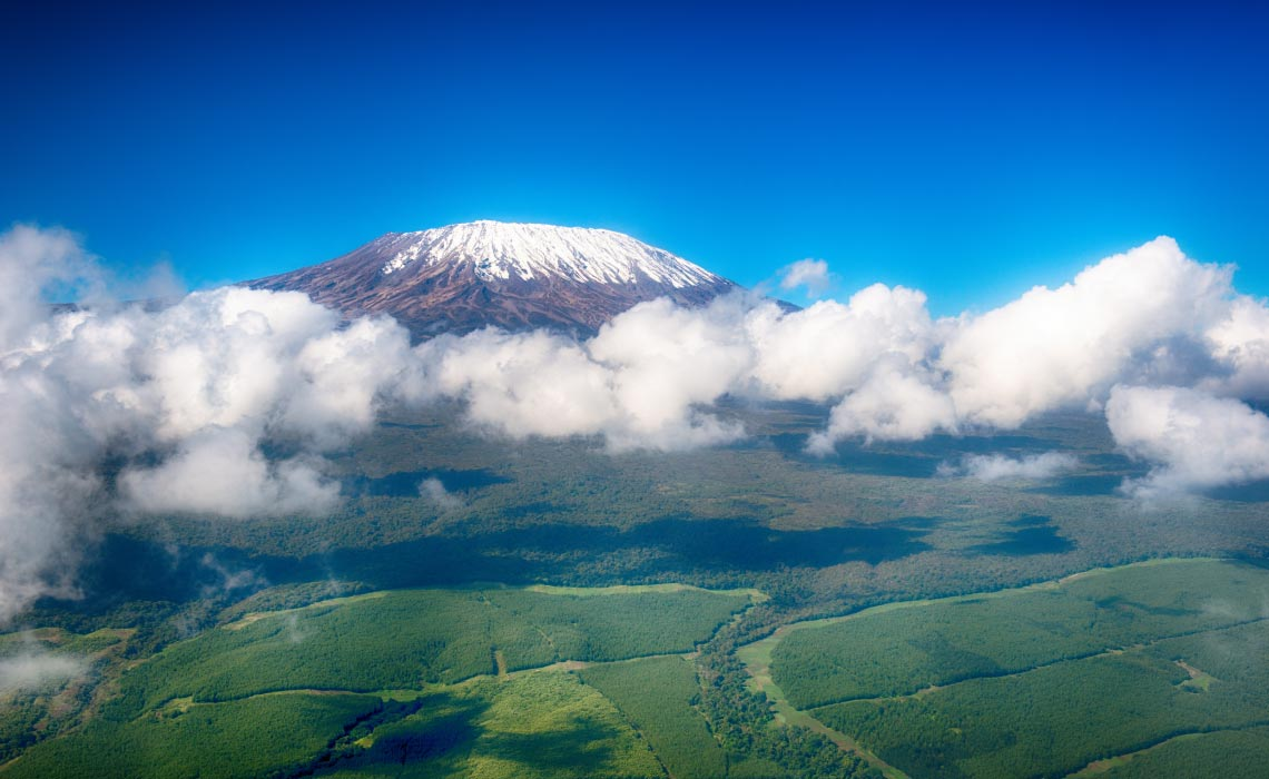 Aerial view of Mt Kilimanjaro