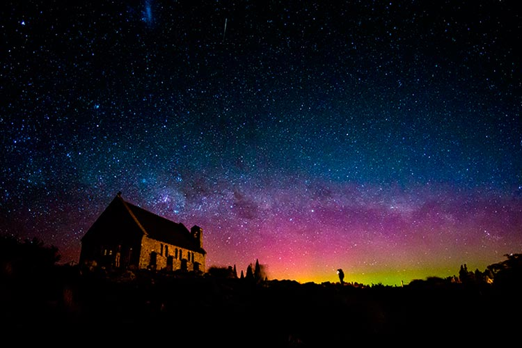 Australis aurora and Milky way at the Church of the Good Shepherd, Lake Tekapo, New Zealand
