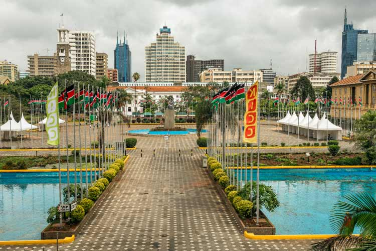 Courtyard surrounding the Jomo Kenyatta Statue, Nairobi