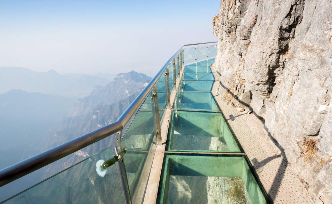 Glass sky walk at Tianmenshan, Tianmen Mountain, China