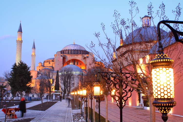 Hagia Sophia by Night in Istanbul, Turkey