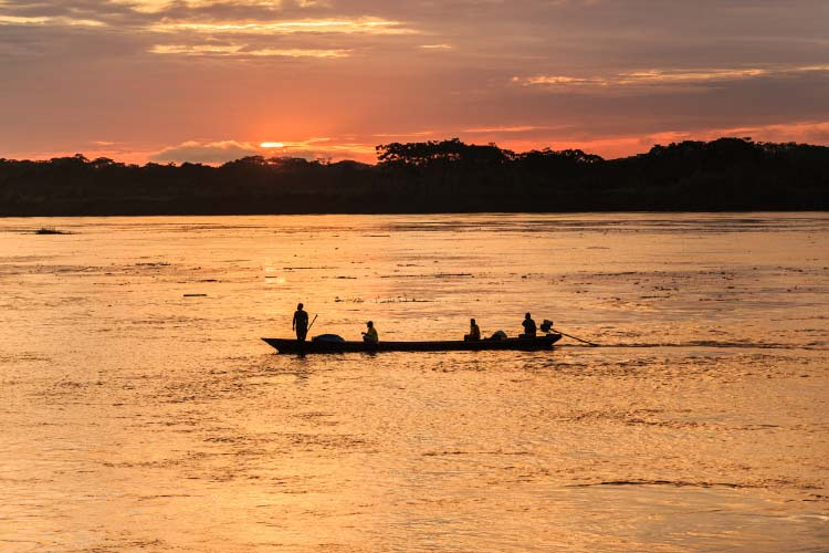 Iquitos, Sunrise in the Amazon river