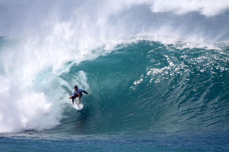 Josh Kerr competes in the Billabong Pipemasters at Pipeline
