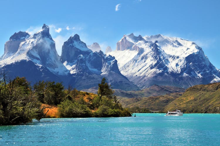 National Park Torres del Paine, Chile. Azure Lake Pehoe