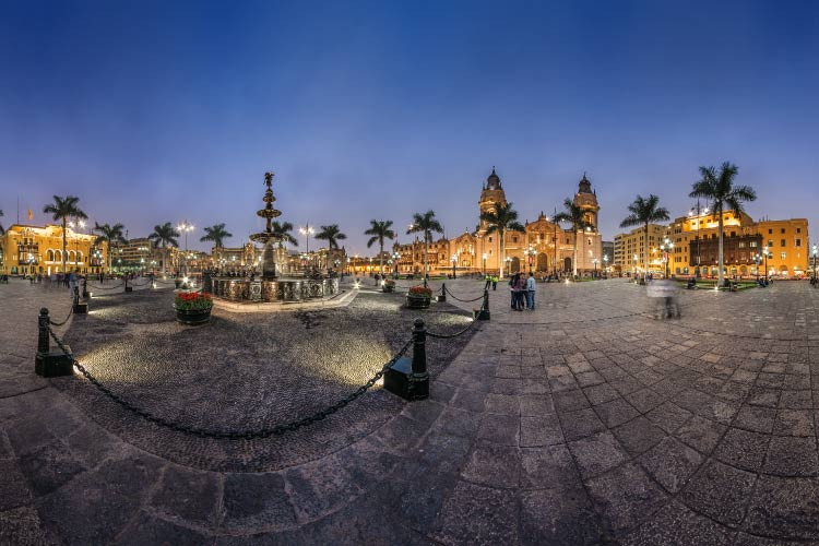 Panoramic view of the main square of Lima