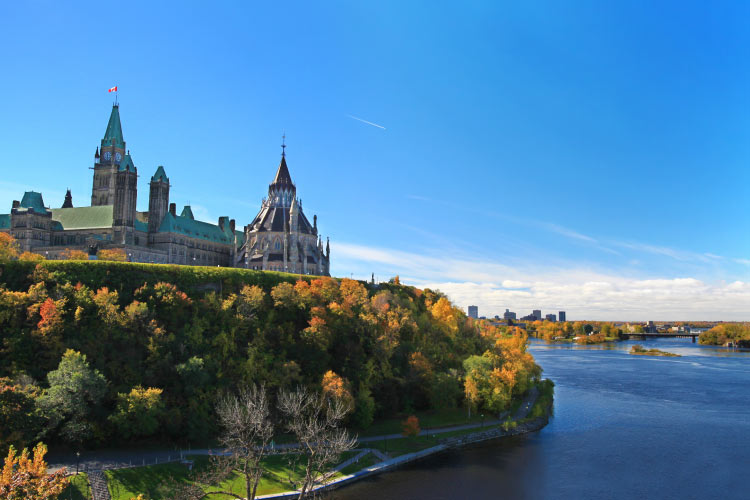 Parliament Hill overlooking river in Ottawa, Ontario
