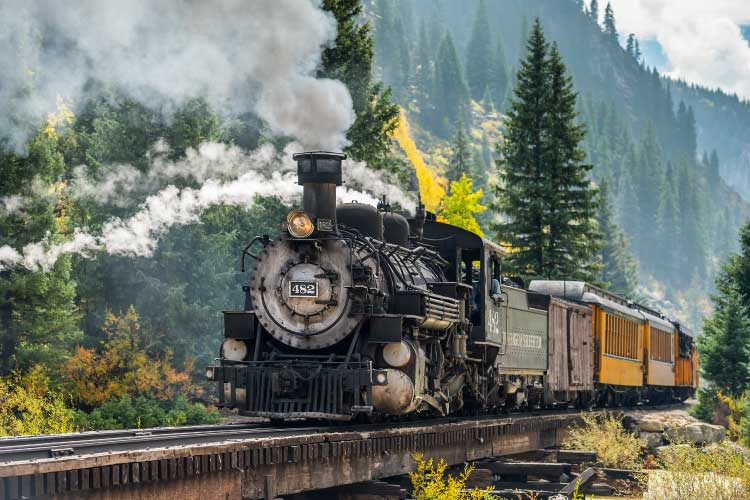 Restored steam train of Durango & Silverton RR. Integral in the History of Travel and Tourism