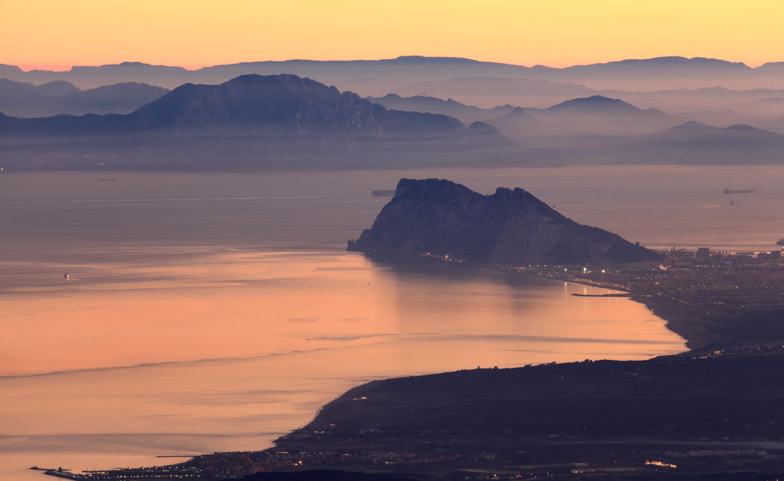 Rock of Gibraltar and African Coast Line