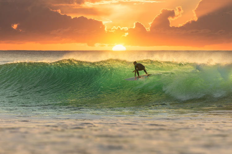 Surfing at Sunrise Gold Coast, Australia one of the best places to surf in the world