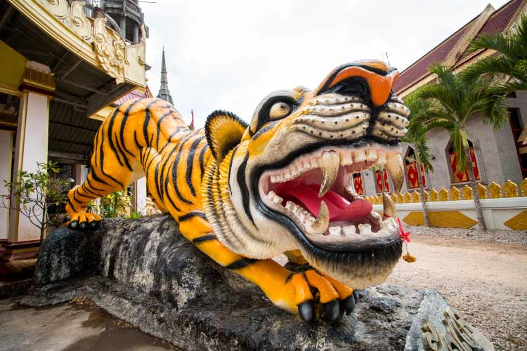 Tiger statue at Tiger Cave, Krabi