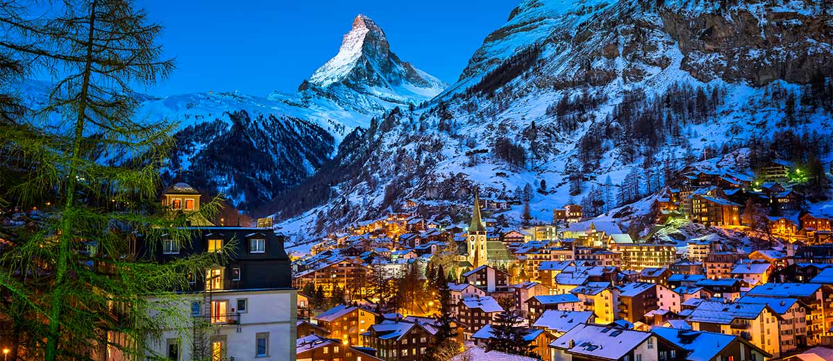 Aerial View on Zermatt Valley and Matterhorn Peak