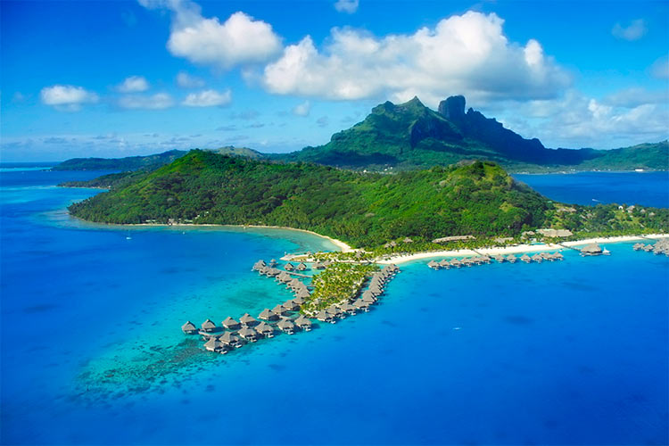Aerial View of Bora Bora, Mount Otemanu