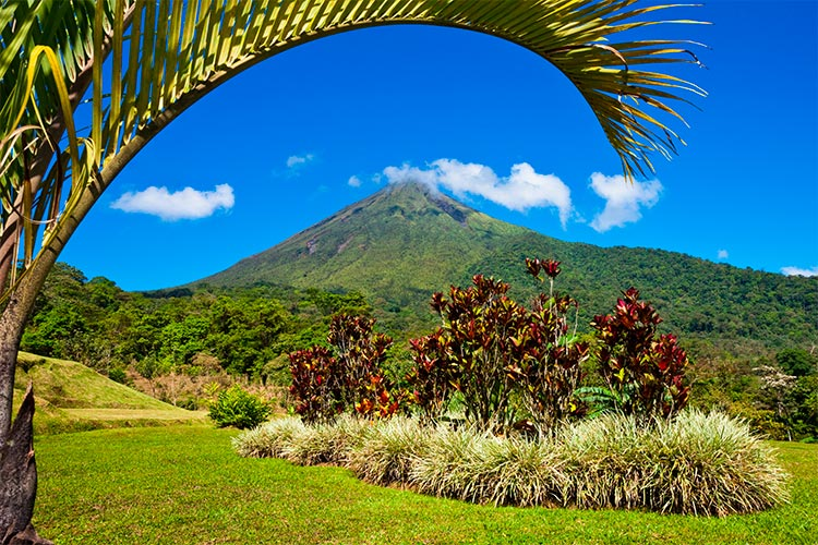 Beautiful view of the green side of the Arenal volcano, Costa Rica