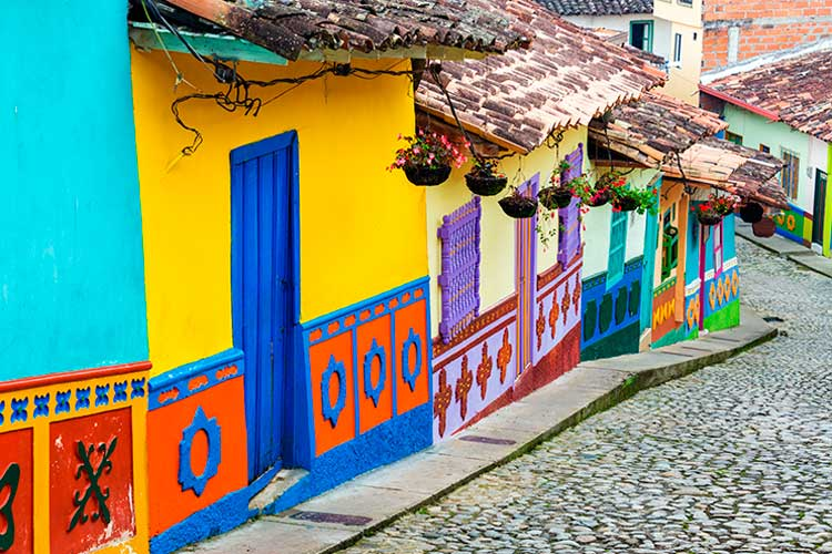Brightly colored street in town of Guatape, near Medellin