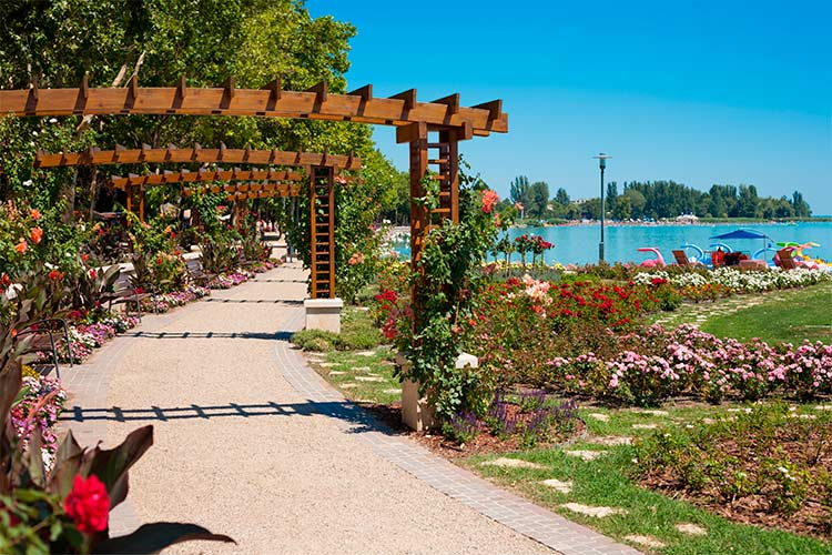 Lake Balaton beach and flower garden at Balatonfured, Hungary