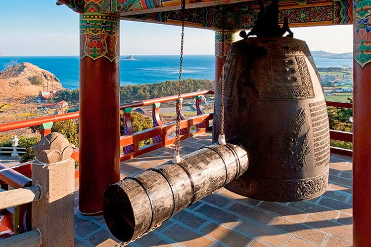 Monastery ring bell at Sanbanggulsa buddhist temple at Sanbangsan, Jeju Island