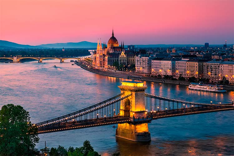 Sunset in Budapest, with the Chain Bridge and Parliament