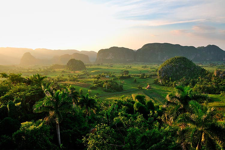Peaceful view of Vinales valley at sunset