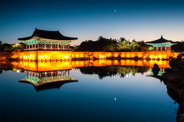 Quiet view of Anapji pond at dawn, Gyeongju
