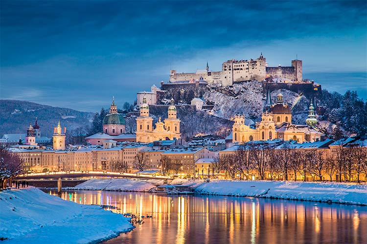 Salzburg with Salzach river in winter