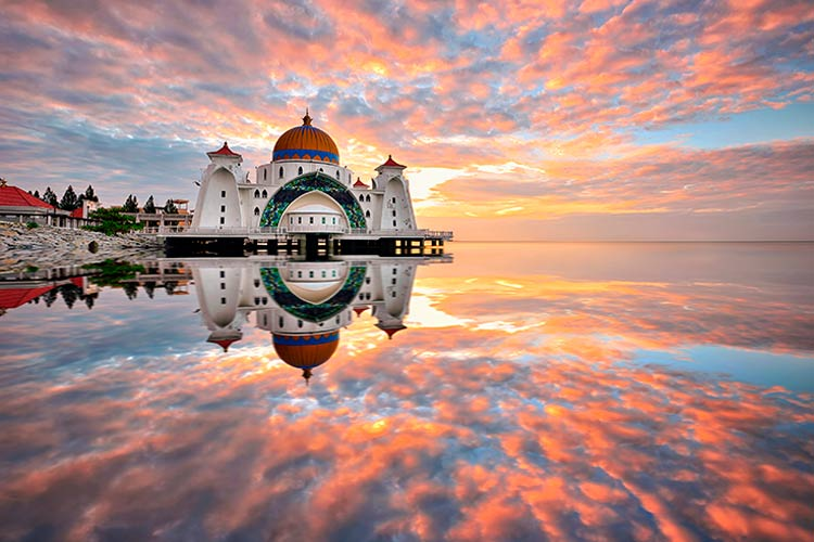 Sunrise reflections at Straits Mosque, Malacca